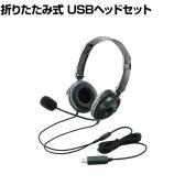 USBヘッドセットマイクロフォン 音声チャット Web会議 両耳オーバーヘッド コード長1.8m 折り畳み式 コンパクト 40mmドライバ ブラック
