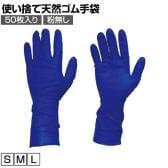 TRUSCO 使い捨て天然ゴム手袋TGプロテクト 0.20 粉無し青 50枚 TGNL20B