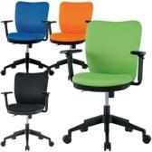 【ブラック:4月上旬入荷予定】オフィスチェア 事務椅子 可動肘付き 【ブルー・ライム・オレンジ・ブラック】