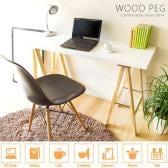 ワークデスク Wood Peg スリムタイプ 様々なシーンで大活躍 幅1200×奥行400×高さ720mm ナチュラル/ホワイト