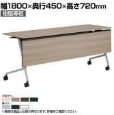 81F5AA | マルカ サイドフォールドテーブル 樹脂幕板付き 幅1800×奥行450×高さ720mm (オカムラ)