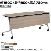 81F5AB | マルカ サイドフォールドテーブル 樹脂幕板付き 幅1800×奥行600×高さ720mm (オカムラ)