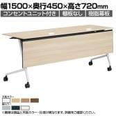 81F5EC | マルカ サイドフォールドテーブル コンセントユニット付き 樹脂幕板付き 幅1500×奥行450×高さ720mm (オカムラ)