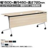 81F5FC | マルカ サイドフォールドテーブル コンセントユニット付き 棚板付き 樹脂幕板付き 幅1500×奥行450×高さ720mm (オカムラ)