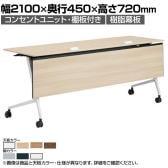 81F5FG | マルカ サイドフォールドテーブル コンセントユニット付き 棚板付き 樹脂幕板付き 幅2100×奥行450×高さ720mm (オカムラ)