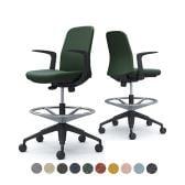 CD23JR | ライブス エントリーチェア Lives Entry Chair オフィスチェア 椅子  固定肘 ハイチェア ブラックボディ インターロック (オカムラ)