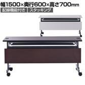 折りたたみテーブル 配線機能付きフォールディングテーブル2 幕板付き 幅1500×奥行600×高さ700mm SHFTL-1560