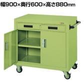 サカエ パネルワゴン(ゴム車・引出・扉付き) PGW-7A 幅900×奥行600×高さ880mm 均等耐荷重300kg
