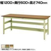 山金工業 ワークテーブル300シリーズ 固定式 中間棚付き ポリエステル天板 SWP-1260TS1 幅1200×奥行600×高さ740mm