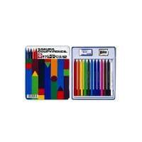 12色セット 色鉛筆 クーピー 缶入り 削り器・消しゴム付き サクラクレパス EC-FY12