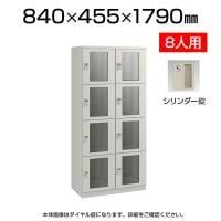 【エーコー】 ベーシックロッカー(アクリル窓付)/シリンダー錠/2列4段/EI-ER24A-02