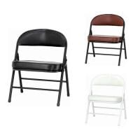 【4脚セット】 折りたたみ椅子 ワイド ローチェア PVCレザー 背もたれ付き パイプ椅子 フォールディングチェア...
