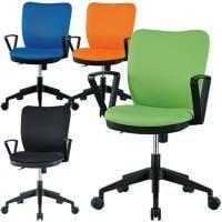 オフィスチェア 事務椅子 肘付き 【ブルー・ライム・オレンジ・ブラック】