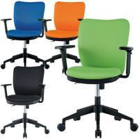 オフィスチェア 事務椅子 可動肘付き 【ブルー・ライム・オレンジ・ブラック】