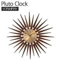 プルートクロック 素材:ウォールナット材/真鍮 幅630×奥行60×高さ630mm