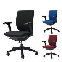 オフィスチェア デスクチェア 事務椅子 エルビス ミドルバック フレキシブルアームタイプ 布張り