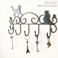 猫のウォールキーフック 幅300×奥行40×高さ175mm ブラック