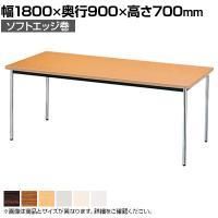 会議用テーブル クロームメッキ脚 棚無 ソフトエッジ巻 幅1800×奥行900mm AK-1890SM