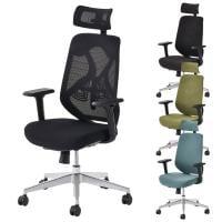 オフィスチェア YS-1 事務椅子 ヘッドレスト付き 肘付き 可動肘 メッシュチェア/布張りチェア 幅690×奥行...