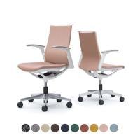 オカムラ オフィスチェア モード 5本脚 クッションタイプ ミドルバック アジャストアーム(可動肘) 樹脂ホワイト...