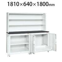 サカエ PNH-RS18DW | 保管システム収納庫 左側/固定棚 右側/スライド棚 扉付き 保管庫 均等耐荷重2...