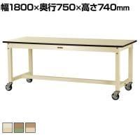 山金工業 ワークテーブル800シリーズ 移動式 全体均等耐荷重320kg メラミン天板 SVMC-1875 幅18...