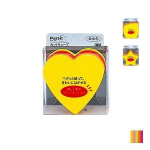 EC-0049-073 / ポストイット ふせん 付箋 ハート/スター/アップル 蛍光5色 カットキューブ 225枚入り スリーエム
