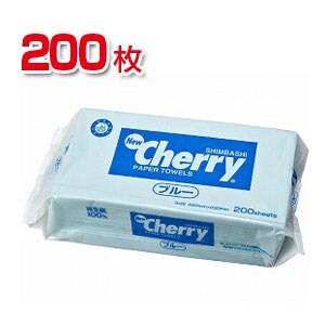 日本製 ペーパータオル ニューチェリーペーパータオル ブルー 200枚入り 新橋製紙 EC-1341-0003