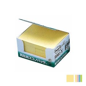 EC-5001-YK / ポストイット ふせん 付箋 ふせん 25×75mm 1箱2000枚 再生紙エコノパック まとめ買い スリーエム