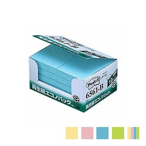 EC-6561 / ポストイット ふせん 付箋 ノート カードサイズ 再生紙 50×75mm 1箱1000枚 再生紙エコノパック スリーエム