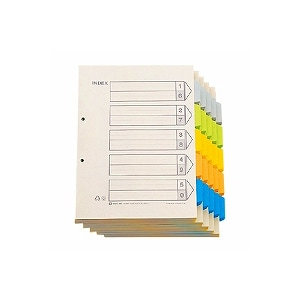 カラーインデックス 業務パック A4 タテ型 5色5山 6枚1組 2穴 1箱100組入 キングジム/EC-907-100