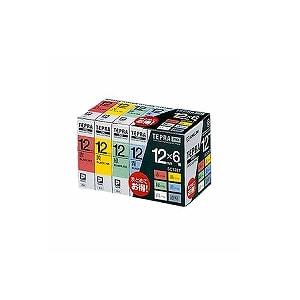 テプラ PROテープカートリッジ ベーシックパック カラーラベル 文字色:黒 幅12mm ラベル8m巻 1パック6個入 キングジム EC-SC126T
