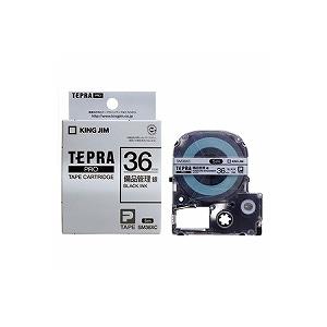 テプラ PROテープカートリッジ 備品管理ラベル 銀 文字色:黒 幅36mm ラベル5m巻 1個入 キングジム EC-SM36XC