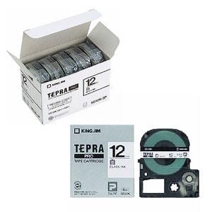 テプラ PROテープカートリッジ エコパック お徳用 ラベル:白 文字色:黒 幅12mm ラベル8m巻 1パック5個入 キングジム EC-SS12K-5P