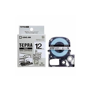 テプラ PROテープカートリッジ 弱粘着 キレイにはがせるラベル 白 文字色:黒 幅12mm ラベル8m巻 1個入 キングジム EC-SS12KE