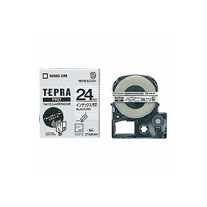 テプラ PROテープカートリッジ インデックスラベル 透明つや消し 文字色:黒 幅24mm ラベル8m巻 1個 キングジム EC-STY24KM