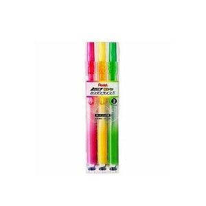 3色セット 詰め替え式 水性 蛍光ペン ノック式キャップレス ハンディラインS 中字~細字1~3.5mm 各色1本 ぺんてる EC-SXNS15-3