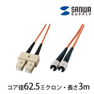 光ファイバーケーブル 3m 2芯 光ファイバーコア径 62.5ミクロン SCコネクタ(プッシュロック) - FCコネクタ(ねじ込み)