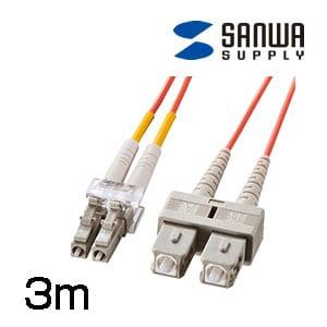 光ファイバケーブル LC・SCコネクタ・コア径50ミクロン 3m