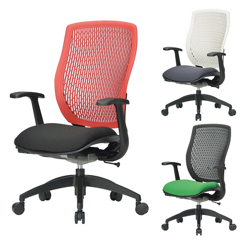 デスクチェア 事務用チェア オフィスチェア ハイバックT型肘タイプ 背と座のカラーが選べる