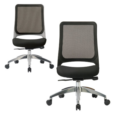 オフィスチェア 事務椅子 MS1600シリーズ 座クッションアルミ脚タイプ 肘なし W640XD570XH920〜1010・SH415〜505