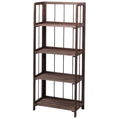 【完成品】天然木製 折りたたみ木製棚 フォールディングシェルフ 4段 AZ-LFS-364/AZ-LFS-364
