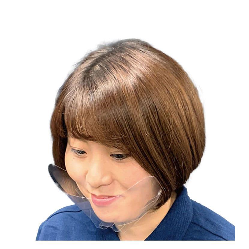 飛沫防止 簡易マウスシールド 高透明度PETシート 男女兼用フリーサイズ 超軽量7g 2段階サイズ調整可 100枚入り