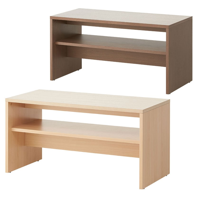 応接テーブル センターテーブル ハイタイプ 収納棚板付き 幅1100×奥行550×高さ560mm 【ナチュラル・ダークブラウン】