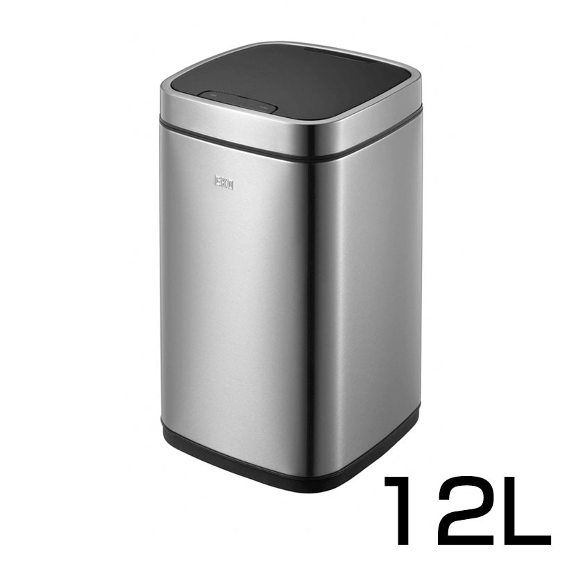 エコスマートセンサービン12L 静音開閉 カウントダウンタイマー付き ごみ箱 スチール製