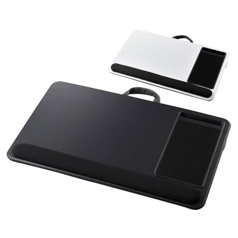 ラップトップテーブル 膝上テーブル クッション付き マウスパッド リストレスト スマホスタンド付き テレワーク 17.3インチノートパソコン対応