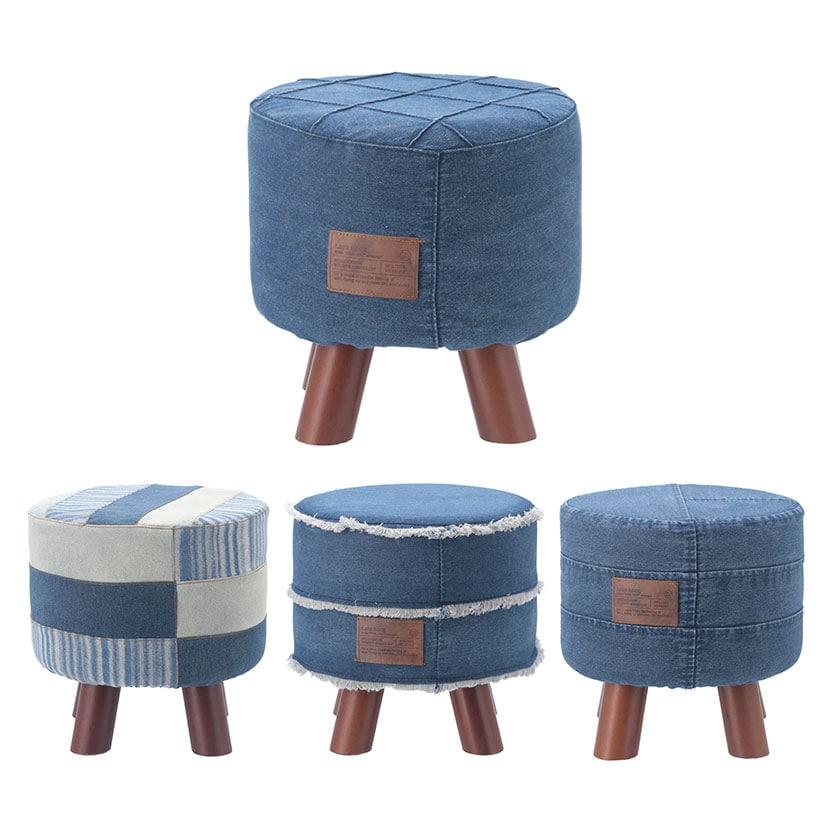 デニムパッチワークスツール ラウンドタイプ 天然木脚スツール 丸椅子 椅子 おしゃれ 幅280×奥行280×高さ280mm