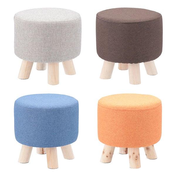 ミニファブリックスツール ラウンドタイプ 丸椅子 ウッドチェア スツール 天然木 おしゃれ 幅280×奥行280×高さ280mm