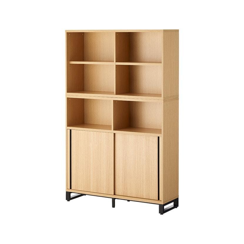 メティオ 木製キャビネット 書庫 5段 上下組 上置き用2段オープン+下置き用3段(オープン+2段スライドドア) 幅1200×奥行398mm