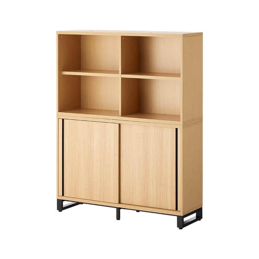 メティオ 木製キャビネット 書庫 4段 上下組 上置き用2段オープン+下置き用2段スライドドア 幅1200×奥行398mm